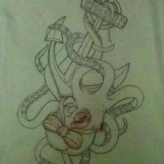 cute octopus anchor bow tattoo