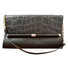 Pre-owned Diane Von Furstenberg 440 Large Envelope Croc/leather... ($174) ❤ liked on Polyvore featuring bags, handbags, clutches, black, pre owned handbags, diane von furstenberg handbags, crocodile purse, croc handbags and croc embossed leather handbags