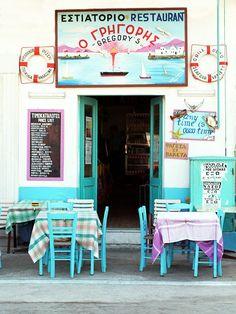 Sweet Restaurant in Naxos, Greece Santorini, Mykonos, Naxos Greece, Corfu, Albania, Greece Islands, Shop Fronts, Greece Travel, Greece Trip