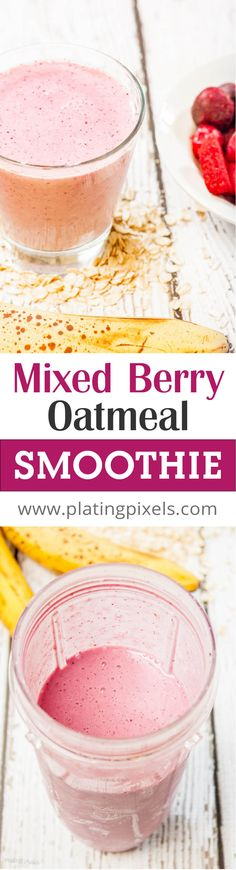 Mixed Berry Oatmeal Smoothie with Low-Fat Yoghurt recipe by Plating Pixels. Thick, creamy and healthy breakfast smoothie with frozen fruit. Ripe bananas are natural sweetener. - www.platingpixels.com