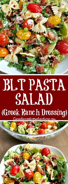 """Fresh """"BLT Pasta Salad"""" goes great as a side, at a potluck of for dinner. Tomato Pasta Salad, Blt Pasta Salads, Pasta Salad Recipes, Healthy Salad Recipes, Fun Easy Recipes, Quick Dinner Recipes, Budget Recipes, Summer Recipes, Clean Eating Recipes"""