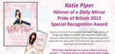 Katie Piper has Won a Daily MIrror Pride of Britain Award! Katie Piper, Pride Of Britain, Recognition Awards, Get Well, Author, Mirror, Reading, Books, Livros