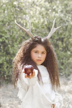 The Darling Deerling. Child model fantasy themed photoshoot with deer antler headpiece.