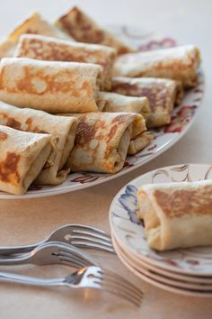 Crepes or Blinzes stuffed with cabbage.  Russian food, Russian recipes