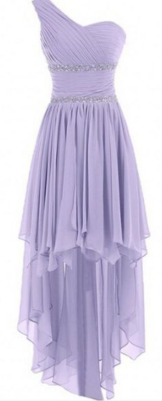 Cute One Shoulder High Low Lavender