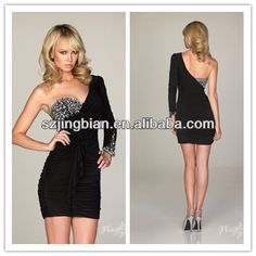HC030 Sexy sweetheart beaded one shoulder long sleeve with beaded at cuffs pleated shirred mini length black homecoming dresses $120~$298