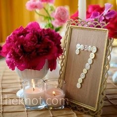 Button and Burlap table numbers by elvia