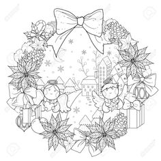 Christmas Wreath Coloring Page With Decorations In Exquisite