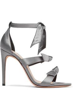 Alexandre Birman - Mary Bow-embellished Satin Sandals - Gray