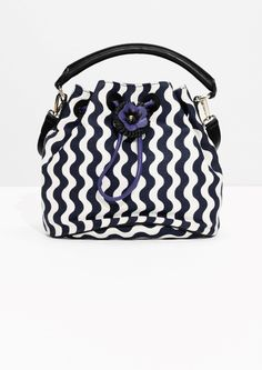 & Other Stories image 1 of Canvas & Leather Flower Bucket Bag in Blue Stripes