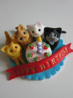 SOOOO CUTE!!! Kittens & Candle Cake Birthday Topper by mimicafeunion on Etsy, $20.00