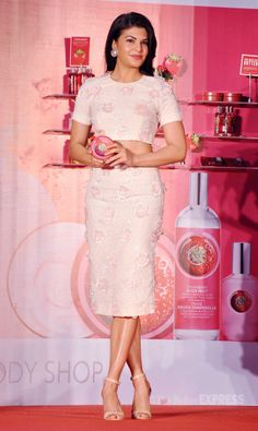 Jacqueline Fernandez at an event for cosmetic and skincare brand 'The Body Shop. #Style #Bollywood #Fashion #Beauty
