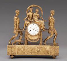 attribué à Pierre-Philippe THOMIRE (1751-1843) - Pendule en bronze ciselé représentant Paul & Virginie, v.1810/1820
