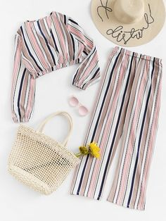 Striped Wrap Top With Pants - October 12 2019 at Cute Girl Outfits, Cute Casual Outfits, Cute Summer Outfits, Stylish Outfits, Kids Outfits, Girls Fashion Clothes, Teen Fashion Outfits, Two Piece Outfits Pants, Jugend Mode Outfits