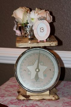 Baby shower decorations. Old scale.