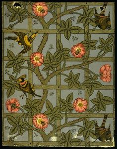 'Trellis' woodblock printed wallpaper, by William Morris, England, 1864.
