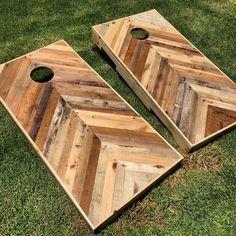diy pallet chevron cornhole boards follow me on instagram for more diy projects - Custom Corn Hole Boards