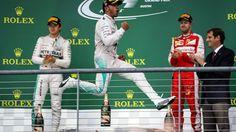 Race winner and new World Champion Lewis Hamilton (GBR) Mercedes AMG F1 celebrates on the podium at Formula One World Championship, Rd16, United States  Grand Prix, Race, Austin, Texas, USA, Sunday 25 October 2015. © Sutton Motorsport Images