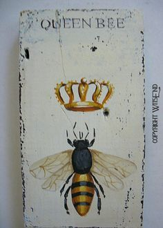 QueenBee wall hook original ooak painting on antique by 4WitsEnd