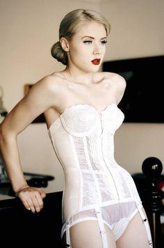 Beautiful Miss Mosh in a classy white lace corset