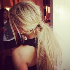 messy ponytail hair blonde long straight mess hairdo haircut style hairstyle