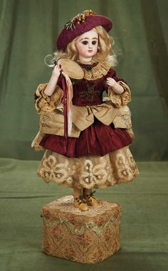 """Lot: French Bisque Musical Automaton """"Lady with Tambourine"""" by Roullet & Decamps 3500/6500 