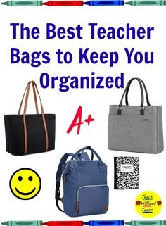 The best teacher bags keep you organized and look great. Check out these five options that are fashionable and will meet all of your organizational needs. Best Teacher Bags, Teacher Tote Bags, Teacher Organization, Teacher Tools, Teacher Hacks, Organization Ideas, Classroom Supplies, Teaching Supplies, Teaching Resources