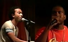 """Watch as Kanye performs an early rendition of """"Gold Digger"""" with a young John Legend playing the keys at The 2nd Annual Dynamic Producer Conference in 2003."""