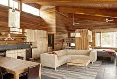 A 750 square feet cabin in Great Barrington, MA. Designed by Maryann Thompson Architects.