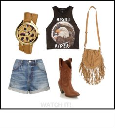 For the rocker stampeder - this outfit idea is based around the MIchael Kors Double Wrap watch.  A tan leather band and animal print dial help show off your wild side when paired with a graphic crop and high-waisted denim shorts! Stampede outfit ideas from WATCH IT! - Calgary's (and Canada's) one stop watch shop! Waisted Denim, Denim Shorts, Stampede Outfit, Country Stampede, Cowgirl Style Outfits, Summer Nights, Tan Leather, Fashion Beauty, Outfit Ideas