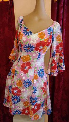 Swinging 1960's Floral Mini Hawaiian Dress by laceembrace on Etsy