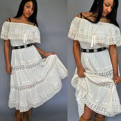 70s dress Romantic Bohemian Maxi Dress / by rockstreetvintage