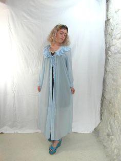 Blue nylon 60's dressing gown house coat by frenchvintagedream