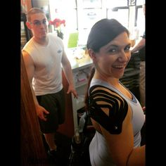 Check out this sick KT taping @23jaelee did for me! Shoulder feels awesome, thanks dude!!  photobomb  by the always fabulous @cory.cameron.98 #bionicwoman #kinesiotape #fit #fitlife #fitness #workout #train #exercise #strong #active #getfit #nevergiveup #keepgoing #noexcuses #motivation #determination #gymmotivation #gymlife #bestrong #gym #gainz #wearethrive  #fitspo #fitfam #fitnessmotivation #instagramfitness #fitgirl #girlswholift #muscles #getitdone