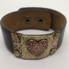 Black Leather Cuff Bracelet for women with Copper Heart.