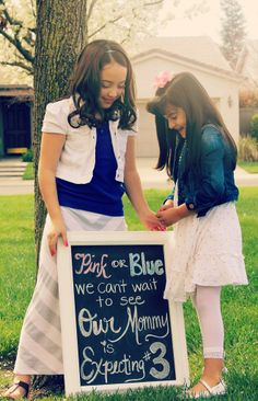 Big Sisters  Pregnancy Announcement baby #3