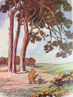 E H Shepard illustration of Winnie the Pooh from the A A Milne books of this loveable little bear and his best friend Christopher Robin, first told in 1924.