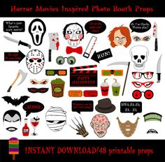 horror movies photo booth props48 pieces printable halloween photo booth propshalloween - Halloween Photography Props