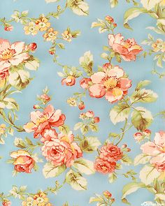 """This collection has the retro appeal of prints from the 1920's through the 1940's. There's something innocent and sweet in the essence of the pastel palette and ambiance of this collection. Larger flowers are about 3 3/8"""", from the 'Attic Treasures' collection by Gerri Robinson of Planted Seed Designs for Red Rooster Fabrics."""