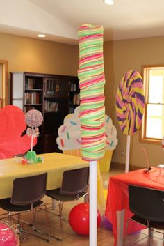 Cotton Candy Cafe - large lollipops were created using fabric and PVC piping.