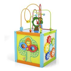 """Your little one will be endlessly entertained with the Imaginarium 5 Way Activity Cube, a Toys""""R""""Us exclusive. Featuring 5 sides of fun and tons of vibrant, bright colors, this wooden cube includes swiveling peek-a-boo counting circles, woodland creature color matching, colorful spinning gears and a tracking maze with tons of twists and turns. The detachable top features an adorable bead maze with multi-colored wooden animals and shapes. When playtime is over, the bead maze can be f..."""