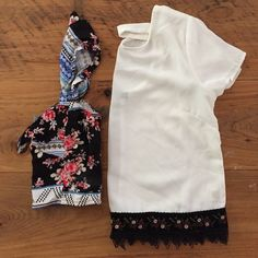 Summer Crop Top Bundle! Floral and Aztec patterned crop top with Flowy straps and bow tie in front. Ruched back. Fire Los Angeles brand.          White longer cropped top with cute opening in back and beautiful floral black lace embroidery on bottom. Monteau brand. Both size XS Monteau Tops Crop Tops
