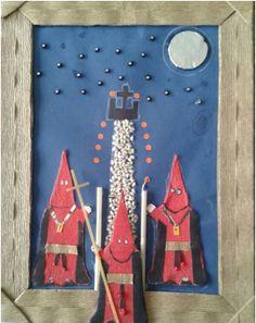 Cuadro de Semana Santa reciclado. No pierdas esta sencilla y ecológica manualidad, para que disfrutes de la Semana Santa con tus peques de una forma creativa y didáctica. http://bricoblog.eu/manualidad-reciclada-dedicada-a-la-semana-santa #Manualidades #Reciclaje #SemanaSanta
