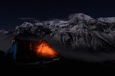 Teashop and Annapurna, Beautiful view during the Full Moon night. By Tomas Mähring on 500px.com/fototomcz #photo #night #nightphotography #nepal #mountains