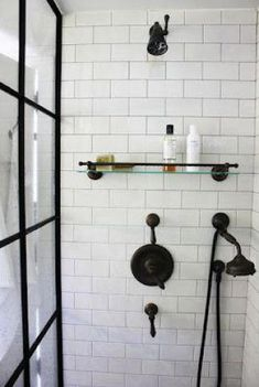 Beautiful Bronze bathroom fittings ¦ Janelle McCullochs Library of Design: Design Wise: Schappacher White - Model Home Interior Design Bronze Bathroom, Downstairs Bathroom, Bathroom Renos, Laundry In Bathroom, Bathroom Fixtures, Small Bathroom, Bathroom Ideas, White Bathrooms, Master Bathrooms