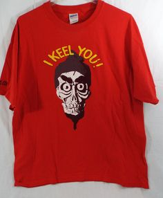 Men's T Shirt in Red Jeffrey Dunham I KEEL YOU! XL Pre Owned #GildanHeavyCotton #GraphicTee