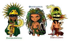 Aztec God Chibis by TheArtfulMegalodon on DeviantArt