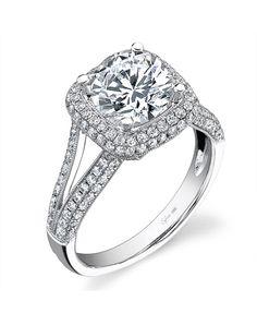 Round center stone, cushion double halo, split shank and pave diamonds