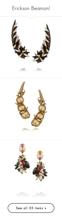 """Erickson Beamon!"" by blueladybird ❤ liked on Polyvore featuring jewelry, earrings, accessories, swarovski crystal earrings, erickson beamon, golden earring, swarovski crystals earrings, swarovski crystal jewelry, gold and erickson beamon earrings"