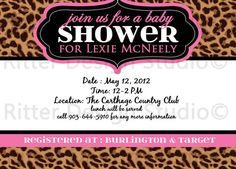 Leopard Pink Baby Shower Invitation  by RitterDesignStudio on Etsy, $15.00
